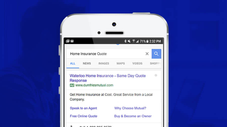 Dumfries Mutual Insurance Google search ad