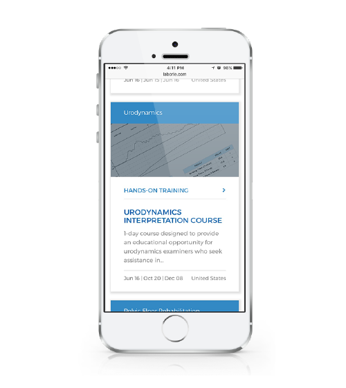 LABORIE's website on mobile