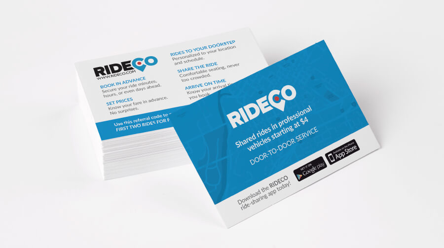 RideCo promotional card