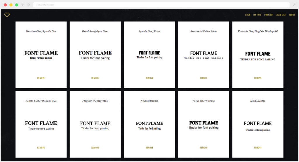 My Type section of Font Flame. This is the collection of saved font pairings you loved.