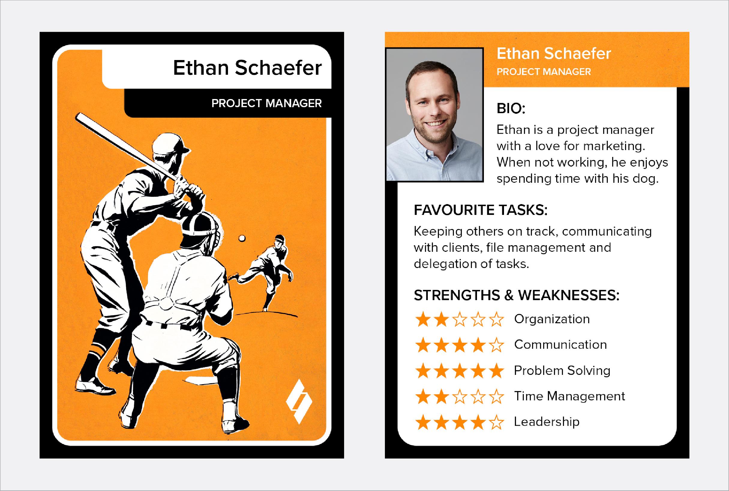 Employee baseball card example