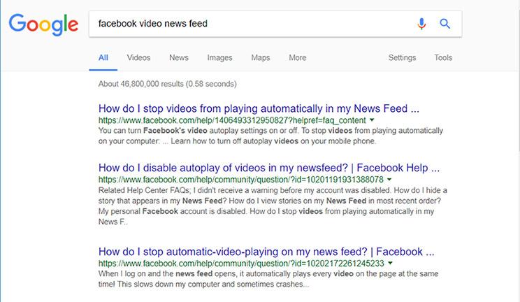 facebook news feed video