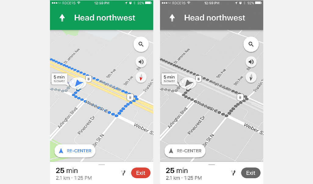 Google Maps uses minimal colours