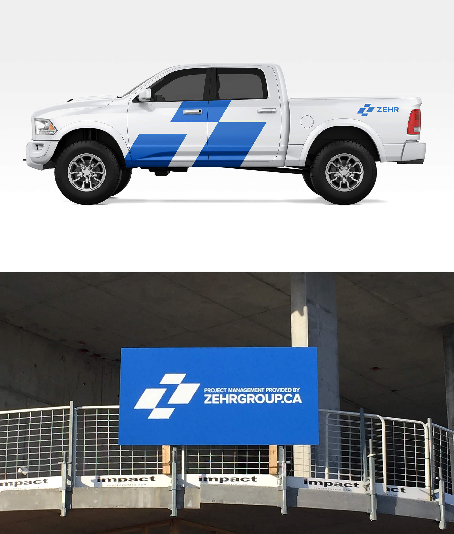 Zehr logo applied as a vehicle wrap and signage