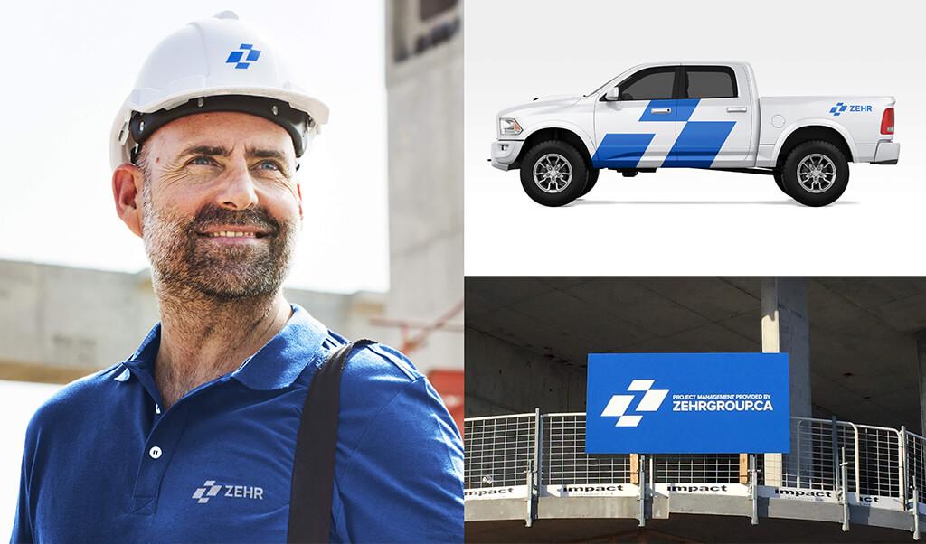Branding mock ups of Zehr Group