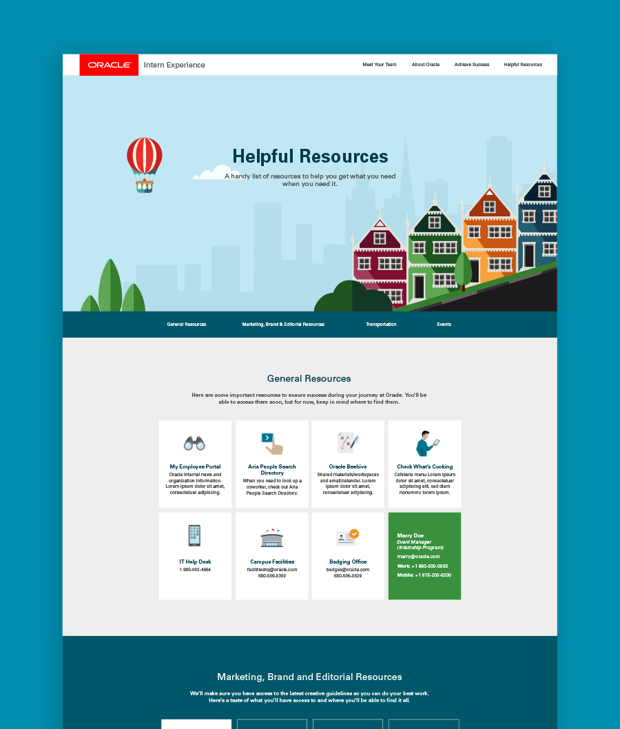 Oracle internship website mock-up