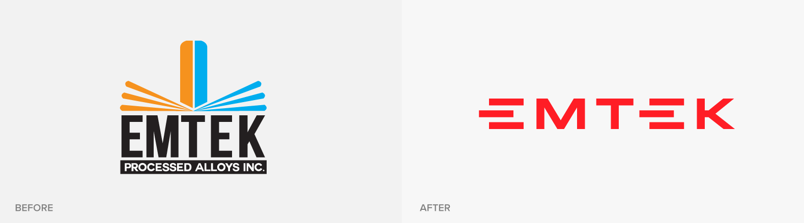 Emtek logo before and after