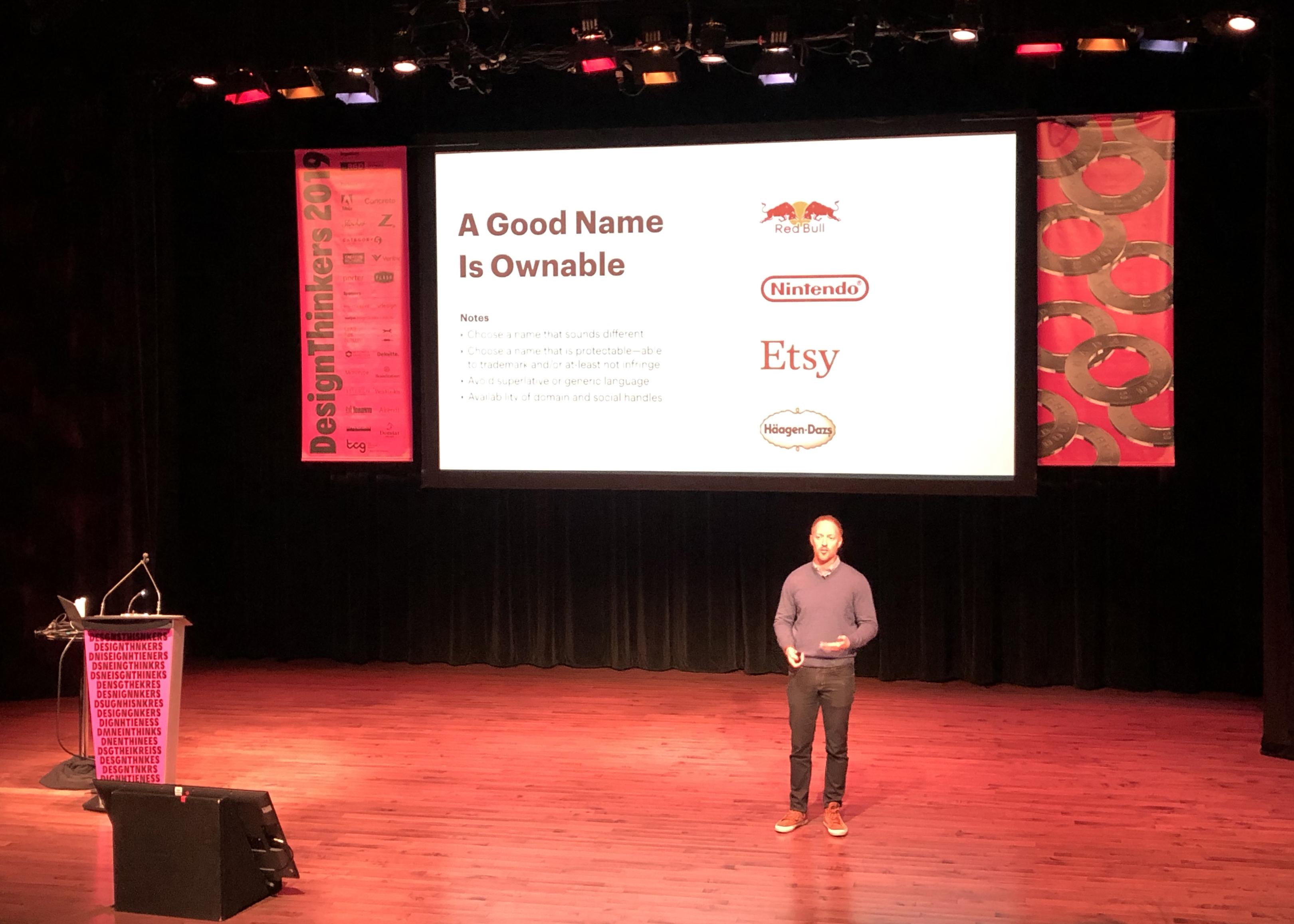 Blake Howard's brand naming presentation at DesignThinkers 2019