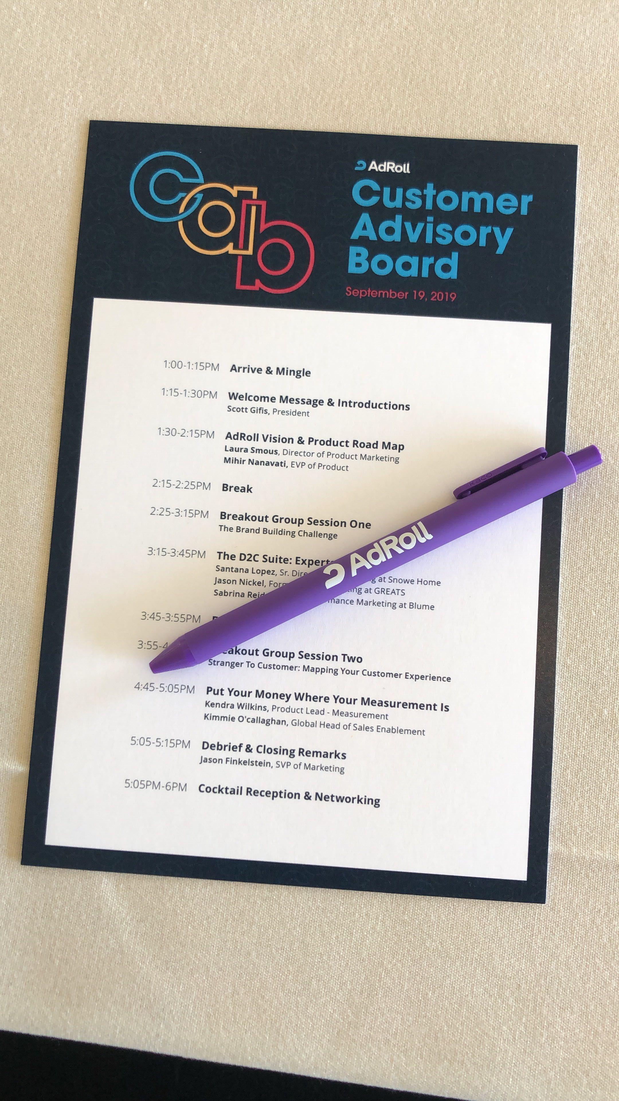 AdRoll's 2019 Customer Advisory Board agenda