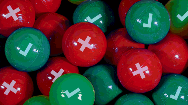 Red and green balls