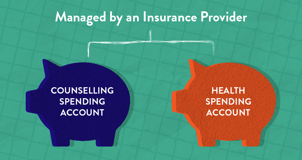 Diagram showing how the HSA and Counselling Spending Accounts are managed by the insurance provider