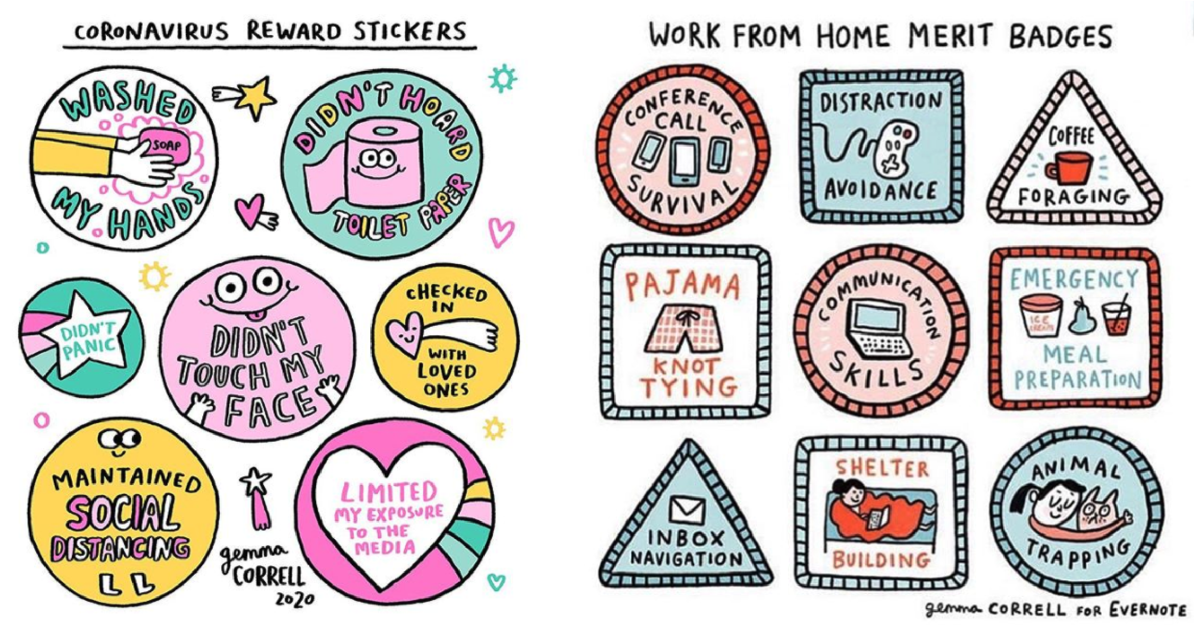 Adorable Coronavirus reward stickers from cartoonist Gemma Correll