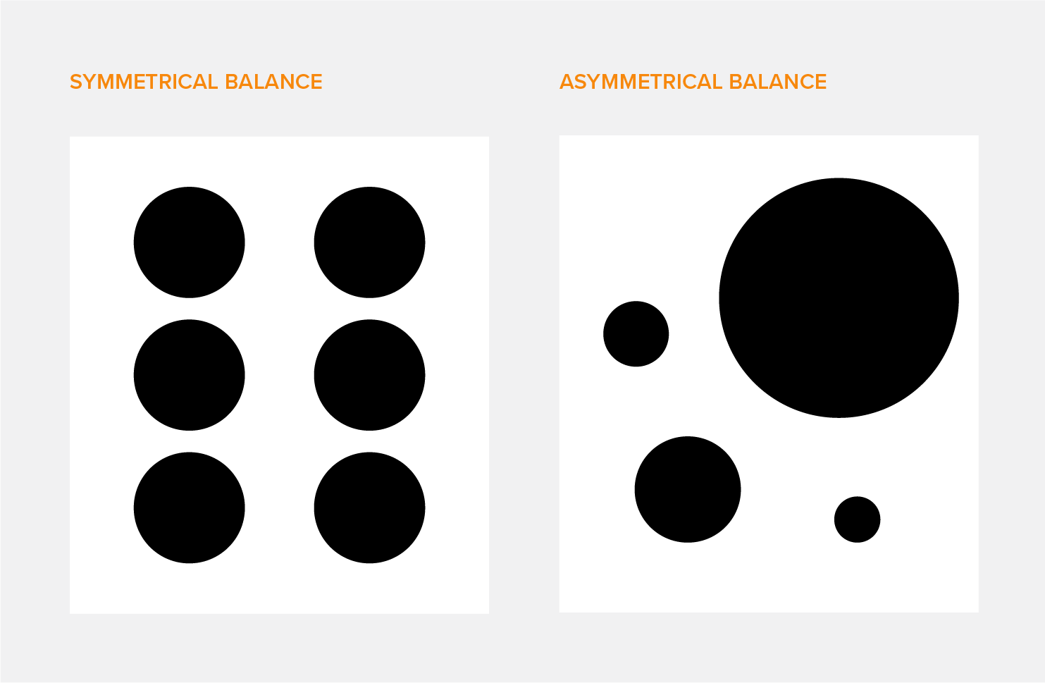 Examples of symmetrical balance and asymmetrical balance