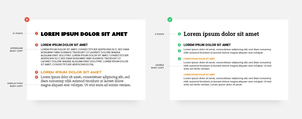 Slide deck example showing typography best practices