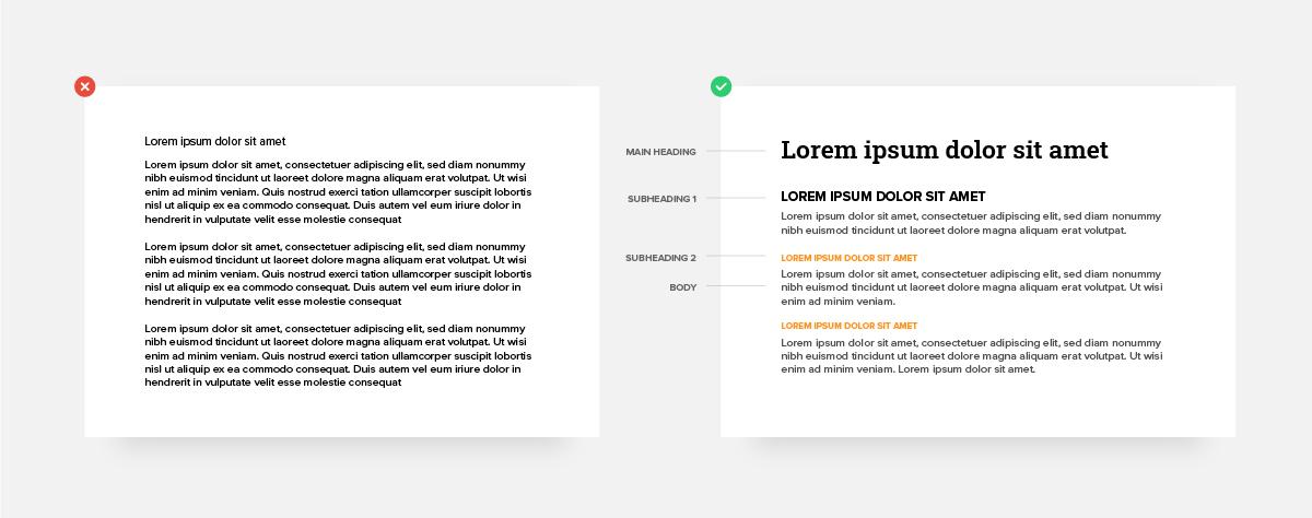 Slide deck typography hierarchy